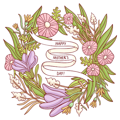 Free Printable Mothers Day Cards Flower Wreath Pink Purple