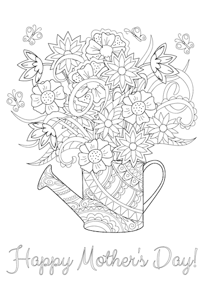Free Printable Mothers Day Cards Flowers in Can to Color