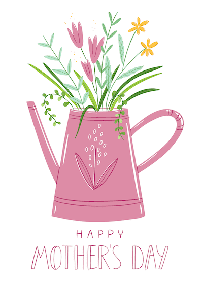 Free Printable Mothers Day Cards Flowers in Watering Can