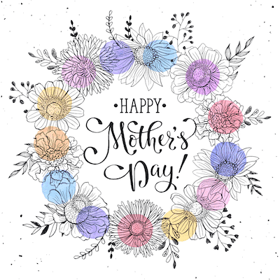 Free Printable Mothers Day Cards Happy Flower Wreath Color Circles