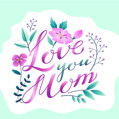 Free Printable Mothers Day Cards Love You Mom Purple Green