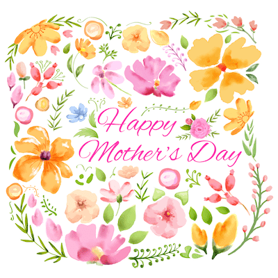 Free Printable Mothers Day Cards Orange Pink Watercolor Flowers