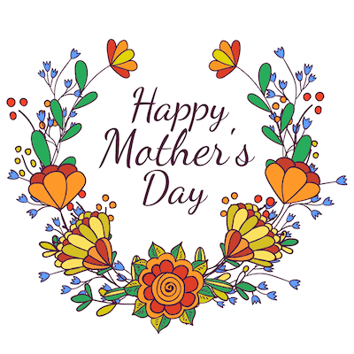 Free Printable Mothers Day Cards Orange Red Laurel Wreath