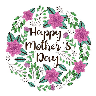 Free Printable Mothers Day Cards Purple Flowers Green Leaves