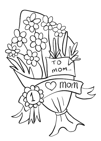 Free Printable Mothers Day Cards to Color Bunch Flowers