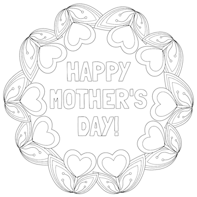 Free Printable Mothers Day Cards Tulip Hearts to Color