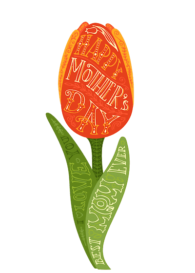 Free Printable Mothers Day Cards Tulip Wordart