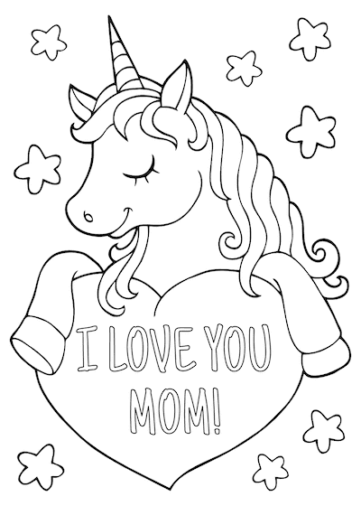 Free Printable Mothers Day Cards Unicorn to Color