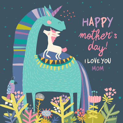 Free Printable Mothers Day Cards Unicorns