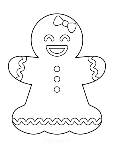 Gingerbread Man Girl Template Icing Large 1