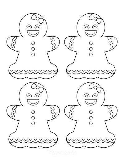 Gingerbread Man Girl Template Icing Small 4