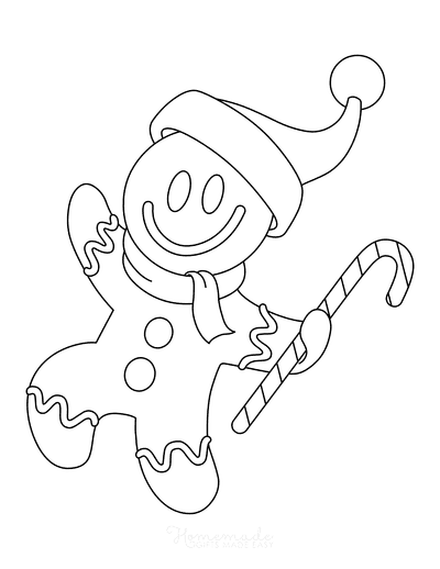 Gingerbread Man Template Coloring Page Candy Cane