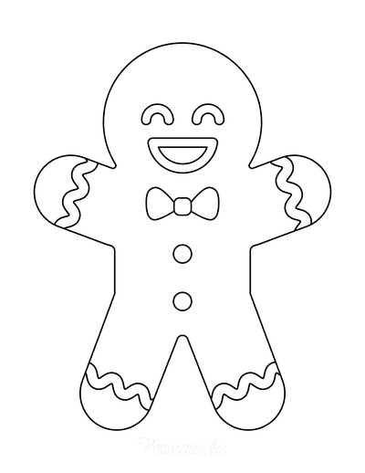 Gingerbread Man Template Cute Icing Large 1