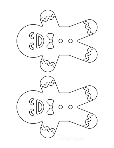 Gingerbread Man Template Cute Icing Medium 2