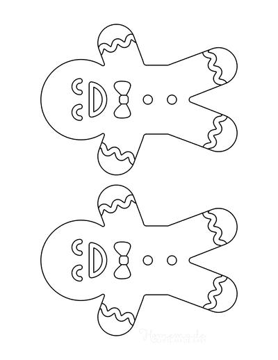 Gingerbread Man Template Cute Icing Medium 2