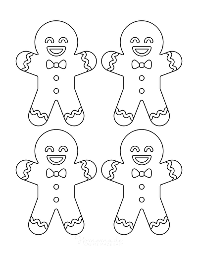 Gingerbread Man Template Cute Icing Small 4