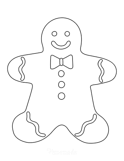 Gingerbread Man Template With Icing Large 1