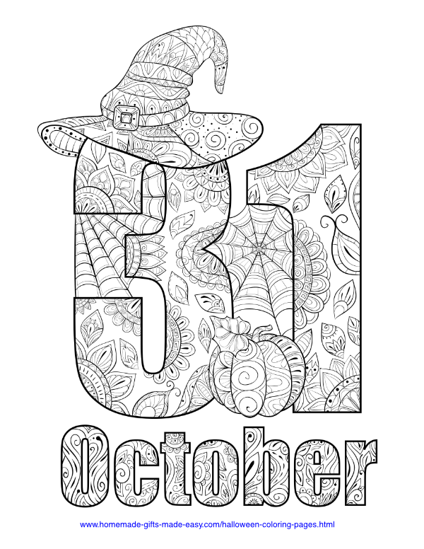 halloween coloring pages - 31 October intricate pattern
