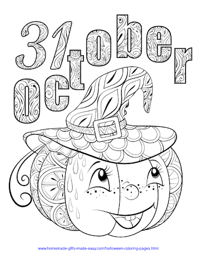Halloween Coloring Pages 31 October Pumpkin Hat