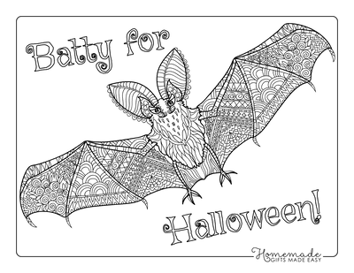 Halloween Coloring Pages Adult Bat Flying