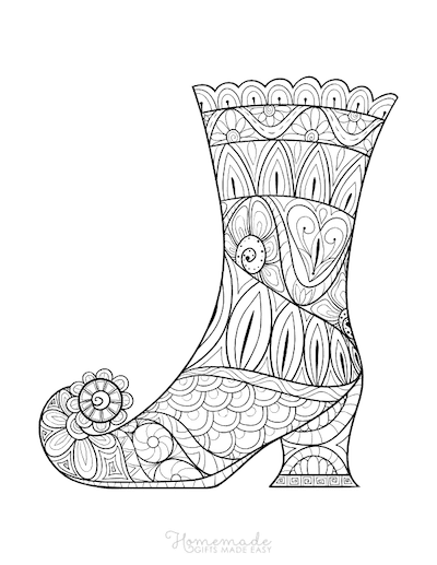 Halloween Coloring Pages Adult Intricate Pattern Witches Boot