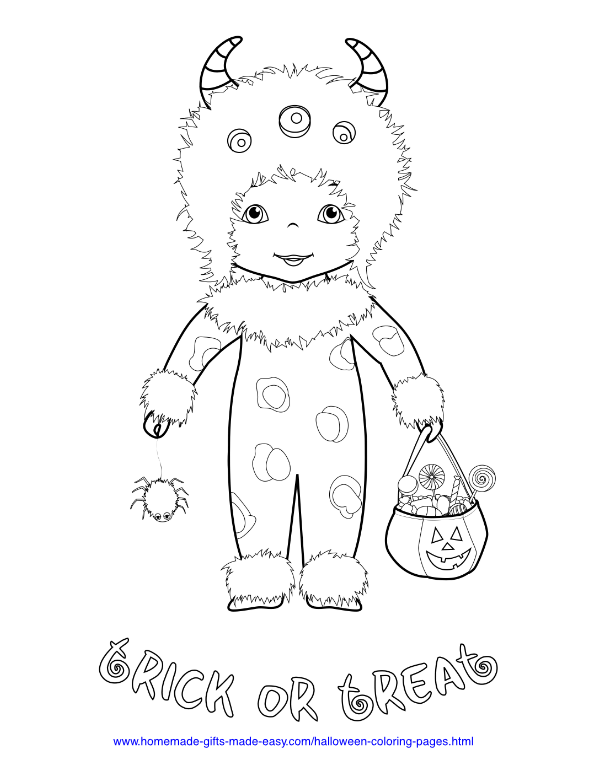 halloween coloring pages - Monster Trick or Treat Costume