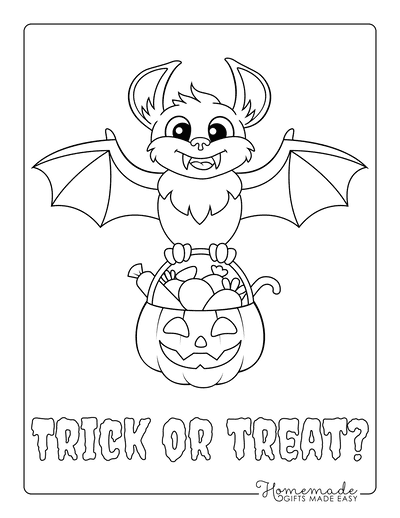 Halloween Coloring Pages Bat Pumpkin Trick or Treat