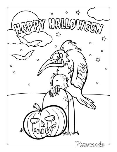 Halloween Coloring Pages Bird Headstone Pumpkin