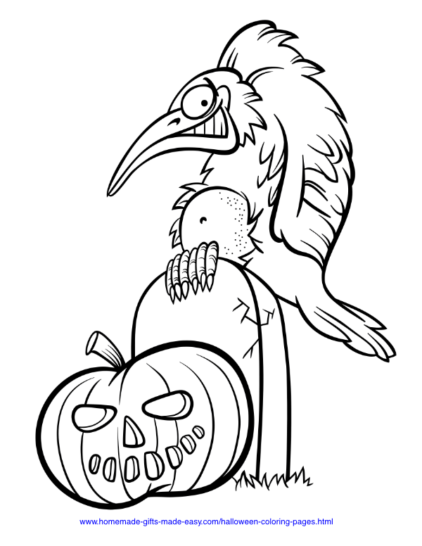 halloween coloring pages - Bird on headstone with pumpkin