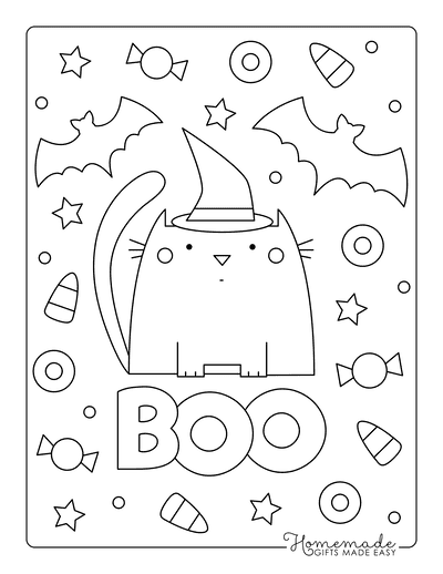Halloween Coloring Pages Boo Cat Bats Candy