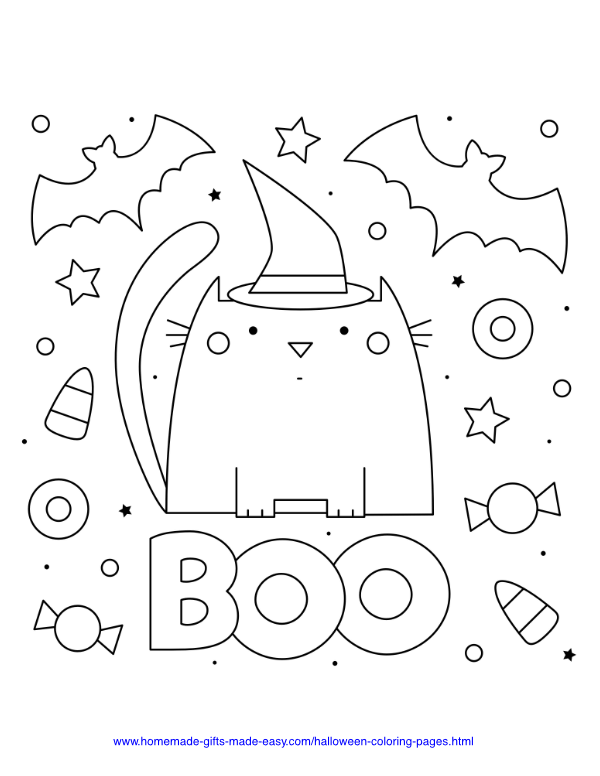 halloween coloring pages - Boo with cat and bats and candy