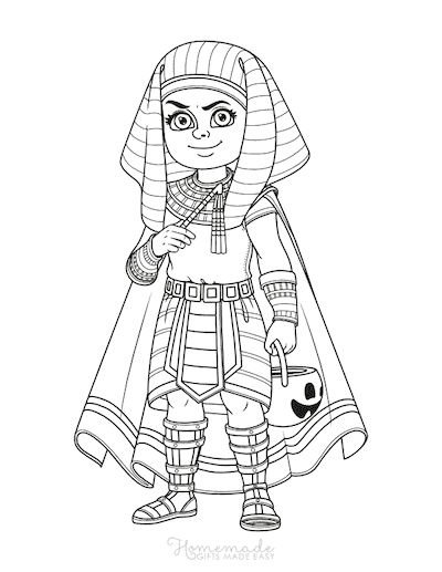 Halloween Coloring Pages Boy Pharoah Costume Trick Treat