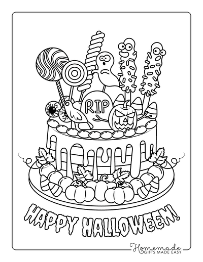 Halloween Coloring Pages Cake Spooky Decorations