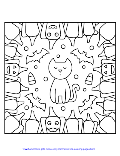 Halloween Coloring Pages Cat Pumpkins Border