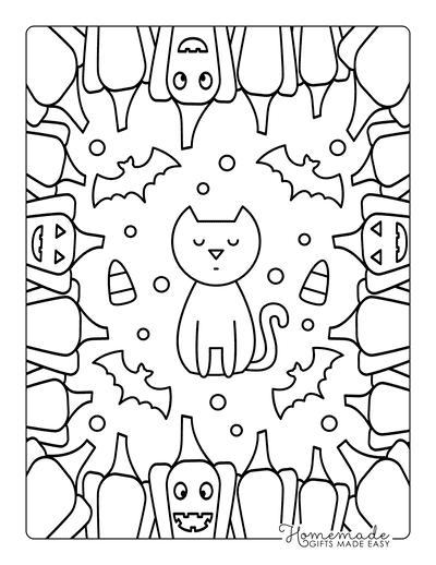 Halloween Coloring Pages Cat Pumpkins Border