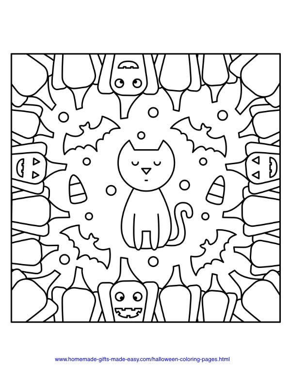 halloween coloring pages - Cat with Bats, candy, and pumpkin border
