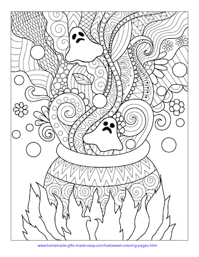 Halloween Coloring Pages Cauldron Swirls Intricate Pattern