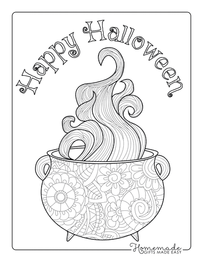 Halloween Coloring Pages Cauldron Vapor Intricate