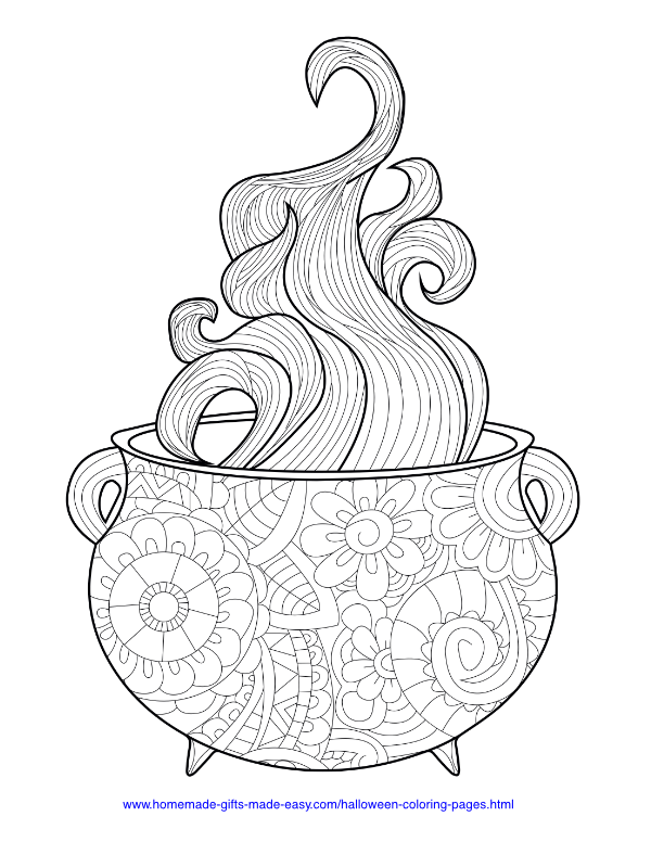 halloween coloring pages - Intricate cauldron with smoke