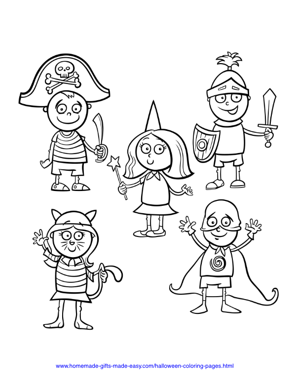 halloween coloring pages - Children in costumes