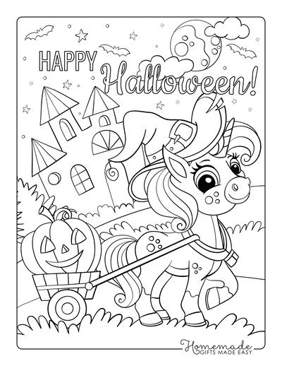 Halloween Coloring Pages Cute Unicorn Pumpkin Cart Castle