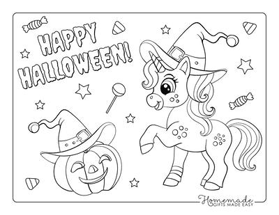 Halloween Coloring Pages Cute Unicorn Pumpkin Lantern Hat