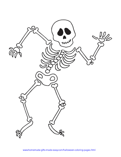 Halloween Coloring Pages Dancing Skeleton Bones