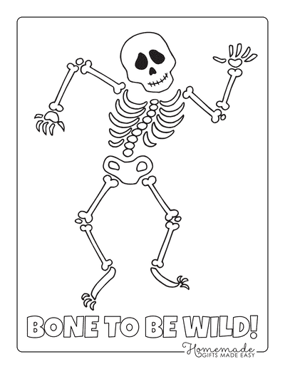 Halloween Coloring Pages Dancing Skeleton Bones