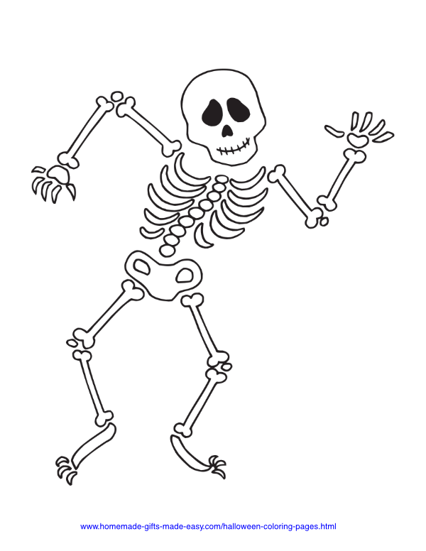 halloween coloring pages - Dancing skeleton bones