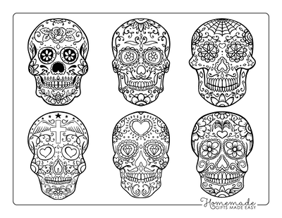 Halloween Coloring Pages Day of Dead 6 Sugar Skulls