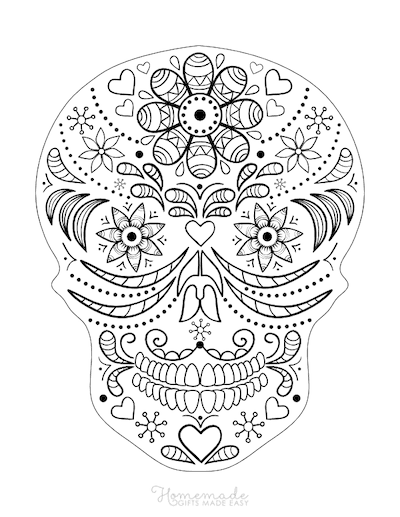Halloween Coloring Pages Day of Dead Sugar Skull Adult