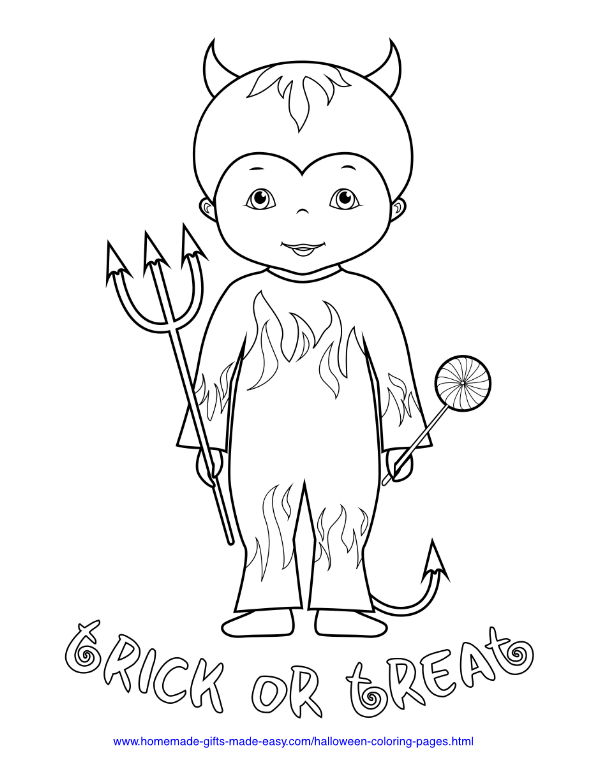 halloween coloring pages - Child in devil costume