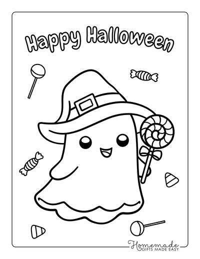 Halloween Coloring Pages Ghost Lollipop Preschoolers