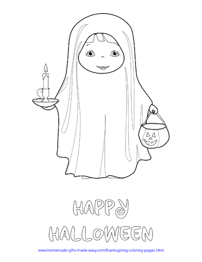 Halloween Coloring Pages Ghost Trick Treat Costume